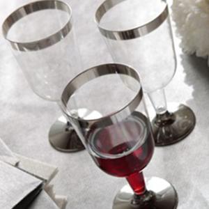Presentación de copa de vino de plata - DeFiestaEnCasa