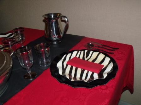 Súgerencia de presentación con platos Cebra