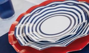 plato marinero rayas azules