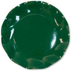Plato satinado verde botella pequeño - DeFiestaEnCasa