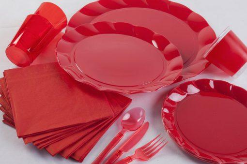 bajo plato plastic rojo
