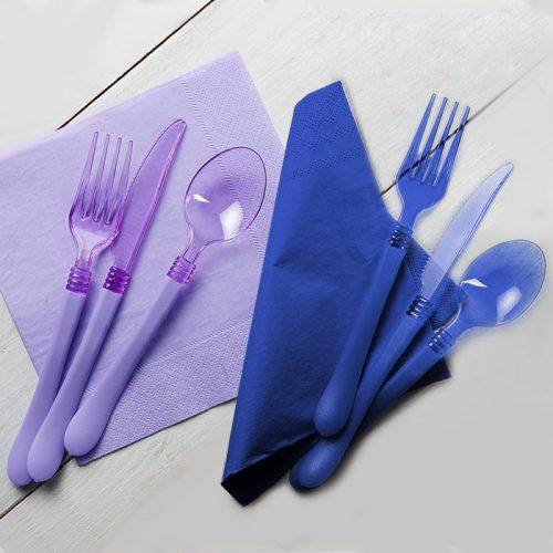 Cubiertos transparentes con puño de colores - DeFiestaEnCasa