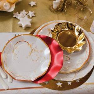 Presentación con plato de navidad en oro - DeFiestaEnCasa