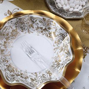 Presentación de plato Nobleza en oro - DeFiestaEnCasa