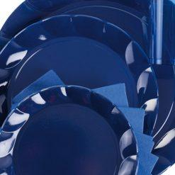 Plato de plástico azul marino - DeFiestaEnCasa