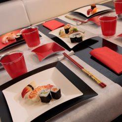 Conjunto de platos wasabi multicolores - DeFiestaEnCasa