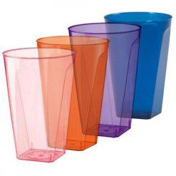Vaso cuadrado en colores - DeFiestaEnCasa