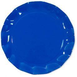 Bandeja o bajo plato satinado azul cobalto - DeFiestaEnCasa