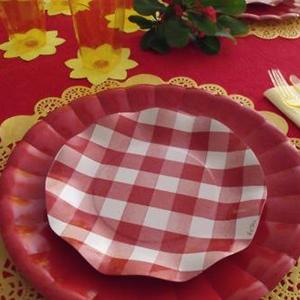 Presentación con blonda redonda grande en amarillo - DeFiestaEnCasa
