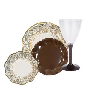 Conjunto nobleza oro y plato co copa marrón-DeFiestaEnCasa