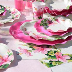 Presentación con plato hibisco - DeFiestaEnCasa