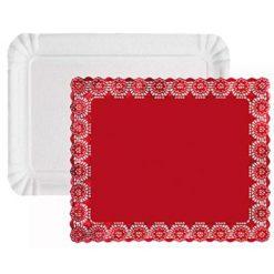 Set de bandeja rectaguar con blonda roja - DeFiestaEnCasa