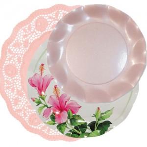 blonda rosa con hibisco y perlado