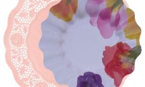 blonda rosa con plato flora