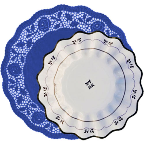 blonda azul marino con plato cartón