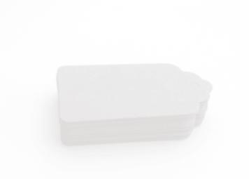 Etiqueta cartón blanco con lazo colores