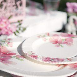 Plato flores rosas