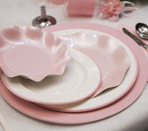 Plato blanco filo rosa comunión