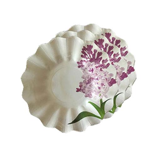 Plato estampado con flor de lila defiestaencasa for Platos aperitivos