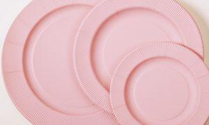 Vajilla Serenity rosa cuarzo-DeFiestaEnCasa