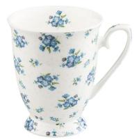Taza porcelana flores azules-
