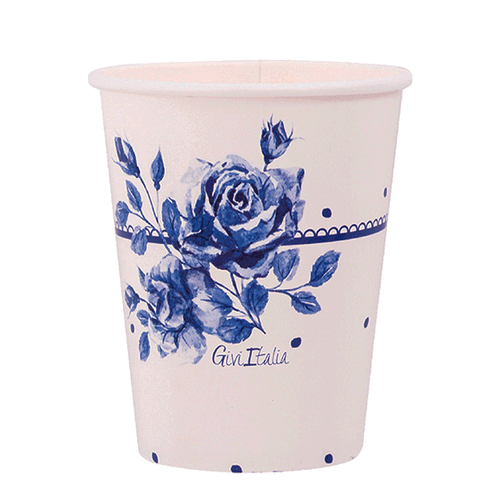 Vaso papel rosa azul